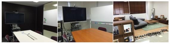 大阪オフィスのインタビュー、モニタールームとリラクゼーションスペース。東京にも同様の設備がある(リラクゼーションスペースは大阪のみ)